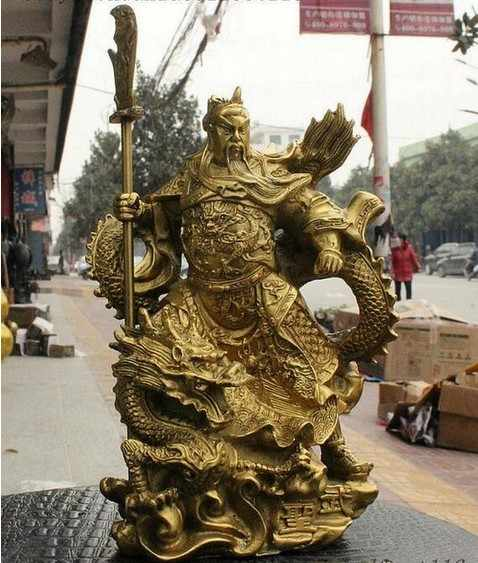 YM  308  China Brass Dragon Robe Stand Dragon Warrior Guan Gong Yu Door-God Sword Statue