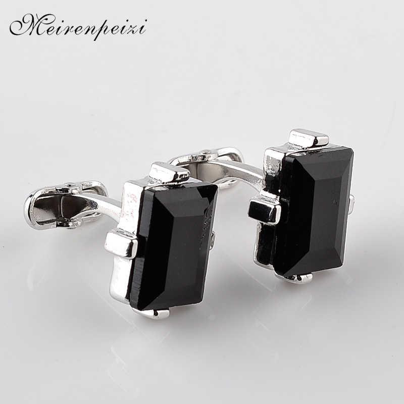 Schwarz kristall Manschettenknöpfe Für Männer Platz natur stein Manschette Links Business Hemd Manschette Tasten für vater freund hochzeit tragen