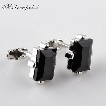 black crystal Cufflinks For Men Square nature stone Cuff Links Business Shirt Cuff Buttons for father boyfriend wedding wear luxurious chain style decorative cuff links for men golden black 2 pcs