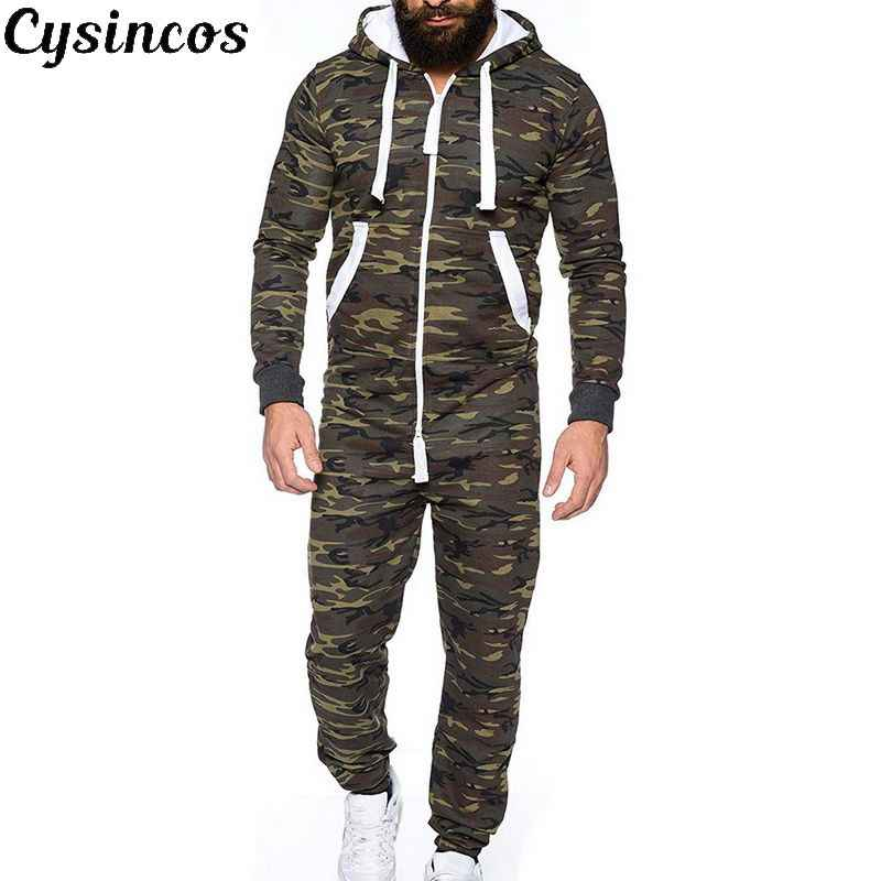 CYSINCOS 2019 Male One-piece Garment Pajama Playsuit Zipper Hoodie Male Onesie Camouflage Print Jumpsuit Streetwear Overalls