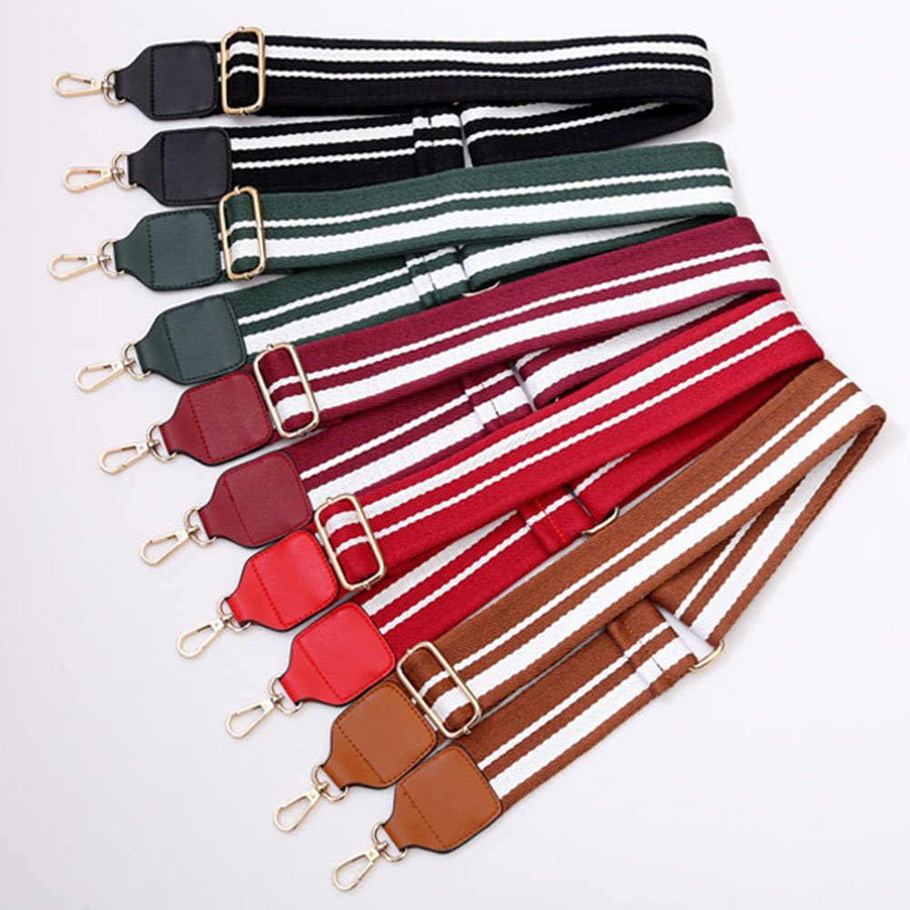Fashion Adjustable Womens Bag Belt Crossbody Shoulder Replacement Fabric Bag Strap New Handbag Striped Canvas Red Bag Belts Hot