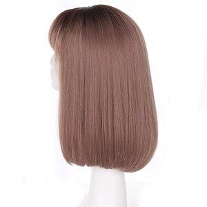Image 4 - Yiyaobess peluca sintética de estilo coreano, pelo largo medio con flequillo, raíces oscuras, degradado, lino, gris, Natural, liso, para mujer