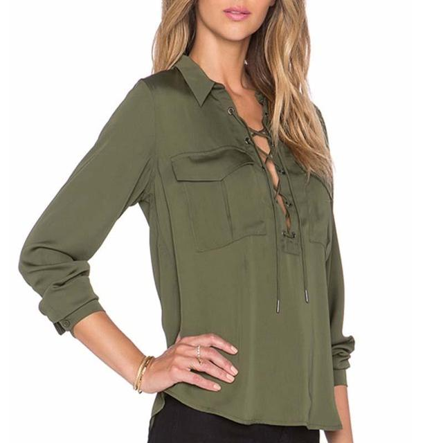 b74d8e8b7e34 2017 Brand New Summer Fashion Ladies Office Shirts Lace Top Long Sleeve  Designer Tops Army Green Formal Shirts