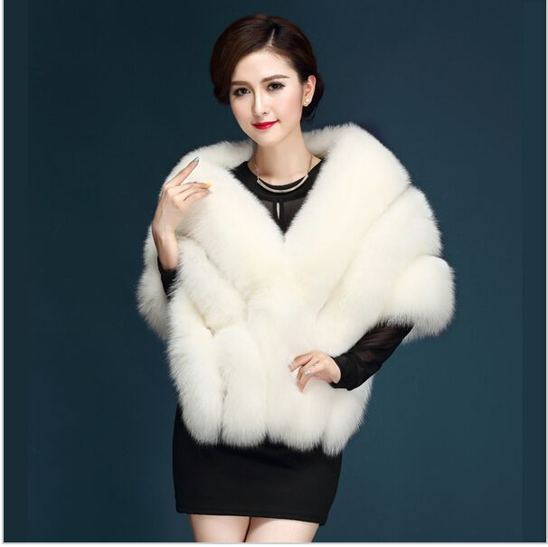 2019 Latest Winter Faux Fur Coats Luxury Fox Fur Imitation Mink Fur Poncho Bridal Wedding Dress Shawl Cape Women Vest Fur Coat