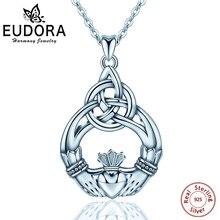 e27e984c9652 EUDORA plata Celtics Claddagh collares diseño colgante mano y del corazón  amor colgante Collar bellas joyas para mujeres regalo