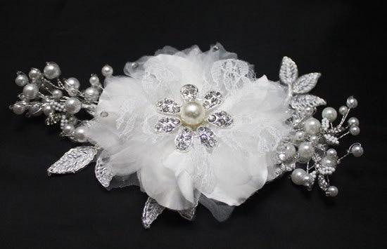 hecho a mano peine del pelo de la flor de boda rhinestone de la perla nupcial