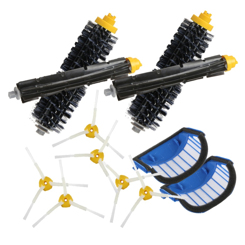 2 Blue AeroVac Filter+2 set main Brush kit+6side brush for iRobot Roomba 600 Series 620 630 650 660 accessory Replacment ntnt free post shipping new 4 aerovac filter 2 brush 6 armed for irobot roomba 500 600 series 550 650