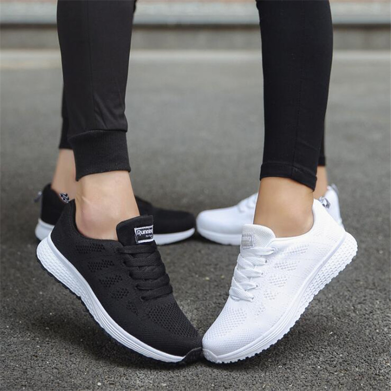 Casual shoes fashion breathable Walking mesh lace up flat shoes sneakers 2