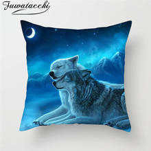 Fuwatacchi Animal Painting Cushion Cover Wild Wolf Tiger Moon Decor Throw Pillows Case Sofa Chair Home Decorative Pillows Cover