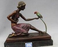 Copper Brass CHINESE crafts Asian 10Western Art sculpture BRASS Marble Women Bell Parrot Bird Statue poppy flower