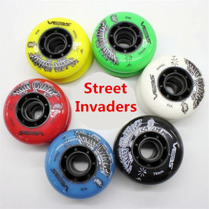 Image 1 - 4 pcs/lot 84A Street Invaders Slalom FSK Inline Skate Wheels for SEBA HV, Yellow Green Blue Red Black White 80mm 76mm 72mm
