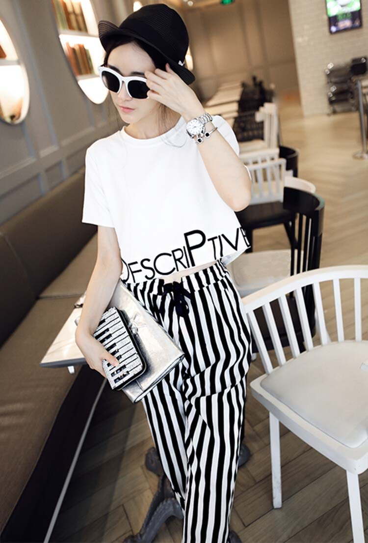 HTB1OoTQxmBYBeNjy0Feq6znmFXaq - 2pieces summer set women tracksuit outfit casual lovely printing cotton letter short t-shirt tops+striped harem pants sweatshirt