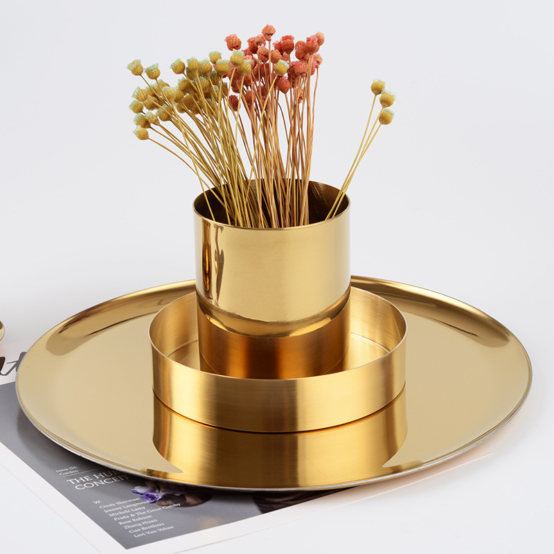 Nordic Style Metal Gold Stainless Steel Cylinder Pen Holder Desk Organizers Stand Multi Use Vens Office Decor Supplies Europe