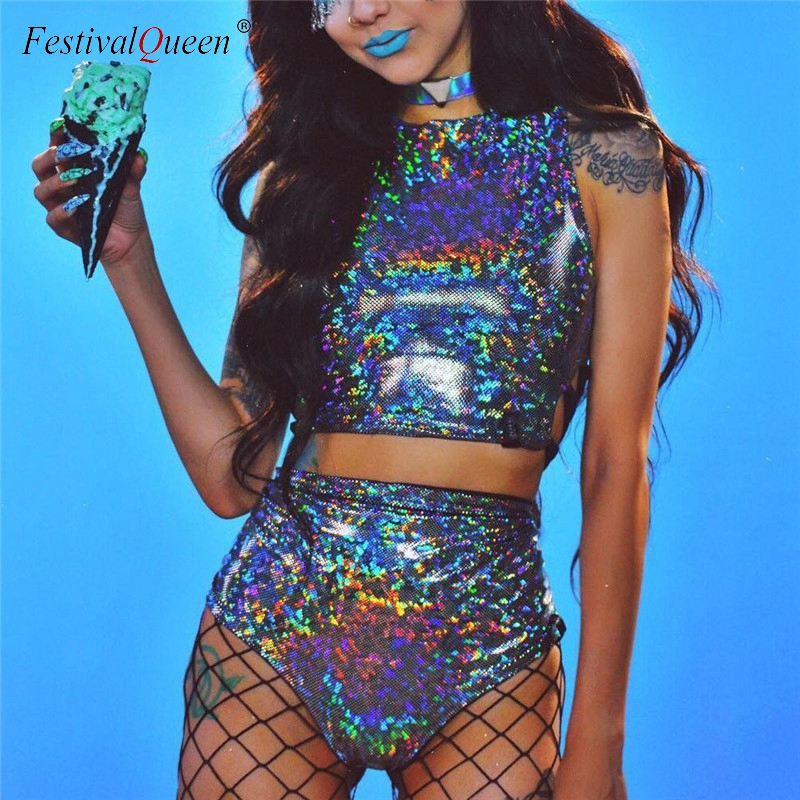 FestivalQueen holographische crop top frauen 2 stück sets festival rave kleidung tragen outfits hologramm tank top hohe taille hot shorts