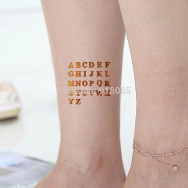 lettres anglaises or éclair métallique tatouages tatouage temporaire
