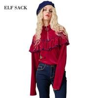 SACO ELF 2017 Mujeres Camiseta Floja Roja Camisas de La Colmena de Lolita mujeres Tops Hight Cuello Cremallera Camisetas de Color de Bloqueo de Manga Larga camisa