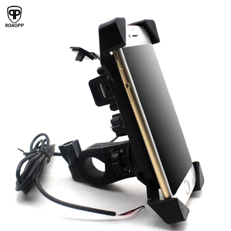 ROAOPP Universal Motorcycle Charger Cell Phone Mount Holder Clamp with USB Charger For Electric Bicycle Scooter ATV GPS Holder