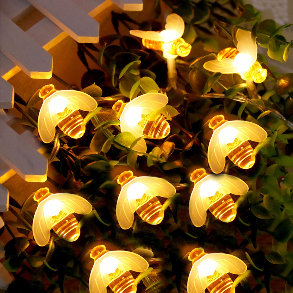 Bee LED Lys String Holiday Lights Garland Batteri USB Operated Fairy - Ferie belysning - Foto 4