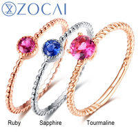 ZOCAI 18K Gold 0 12 CT Certified Ruby Ring Or 0 12 CT Certified Sapphire Ring