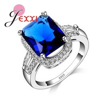 JEXXI Luxury Jewelry Big Square Shape Blue Crystal Stone Mosaic Rings Fashion Zircon Rhinestone Finger Rings S925 Stamped