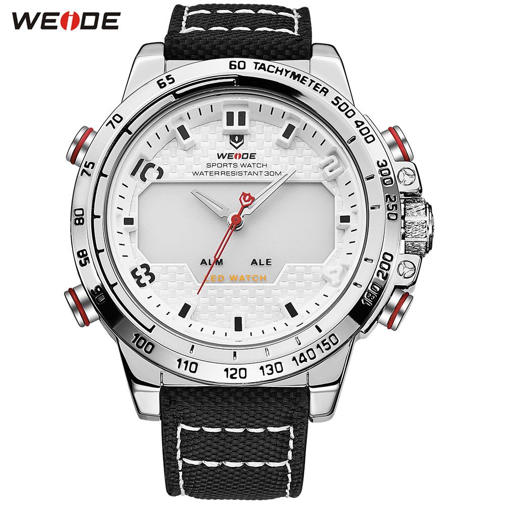 Original Brand WEIDE Man Fashion Army Sport Watch Men LED Digital Quartz Watch Nylon Strap Water Resistant Wristwatches Relogios купить недорого в Москве