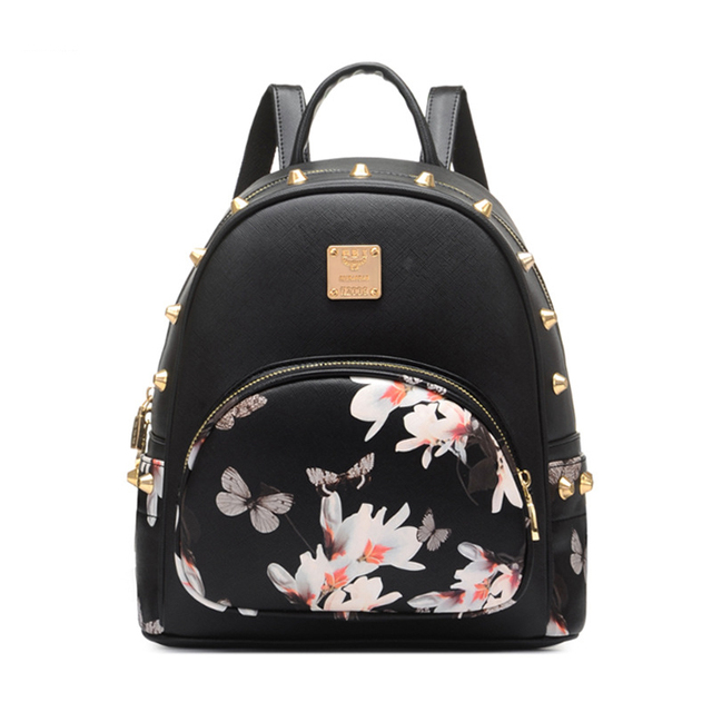 96f65b685a99 2017 New Mini Flower Butterfly Printing Bag Women s PU Leather Backpack  Rivet Girl Schoolbag Ladies Travel High Quality Bag