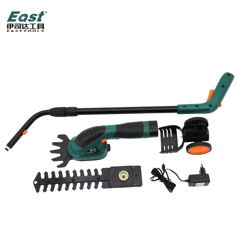 Freeshipping East ET1502 Power Tools 7 2V Combo Lawn Mower Li Ion Rechargeable Hedge Trimmer Grass
