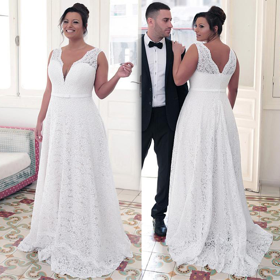 Fashionable Lace Jewel Neckline A line Plus Size Wedding Dresses With Bowknot White Lace 26W Bridal