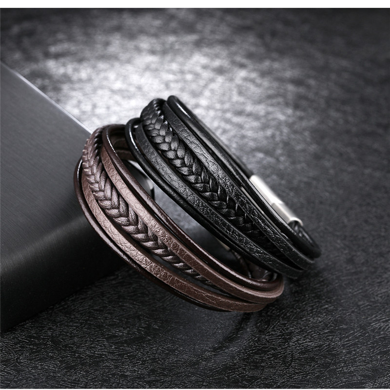 Ethnic Bangles Handmade Leather Weave Charm Bangle Bracelet Multilayer Brown Black Genuine Leather Bracelet Men Bangle Chain