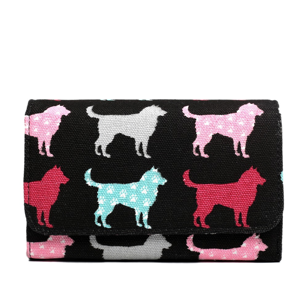 Fashion Womens <font><b>dog</b></font> design printing Canvas Wallets And Purses Multicolor Canvas Material Wallet Femme Fashion Women Wallets