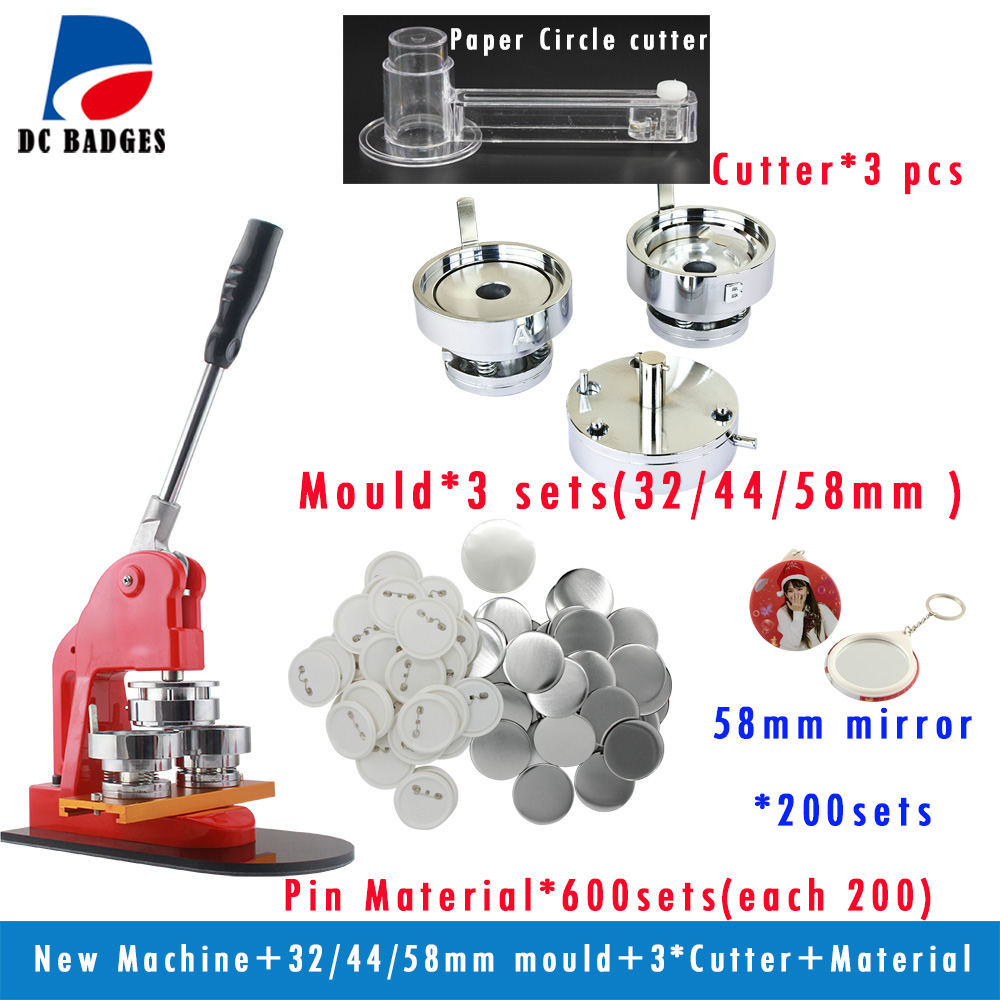 New Mix Button Machine with 32/44/58mm round mould +Badge material +mirror keychain+3 pcs paper cutter in 2017 new mould 58 mm circular mould exchange badges badges 58 mm machine mold factory outlet