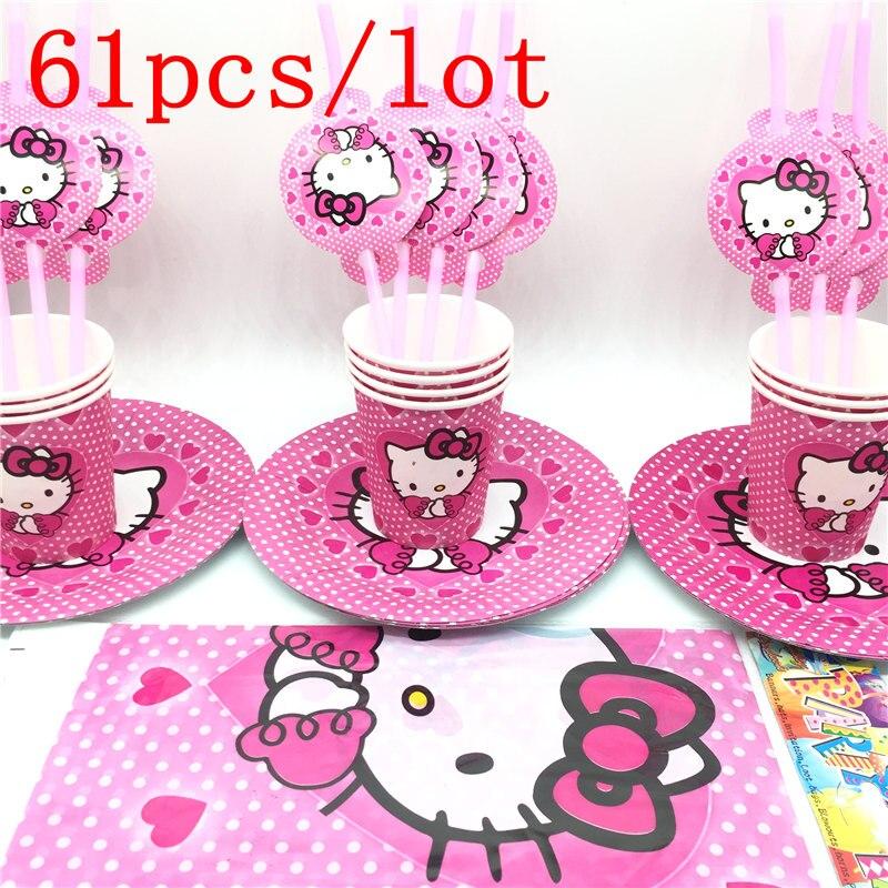 61pcs Hello Kitty Theme Party Supplies Kids Birthday Decoration