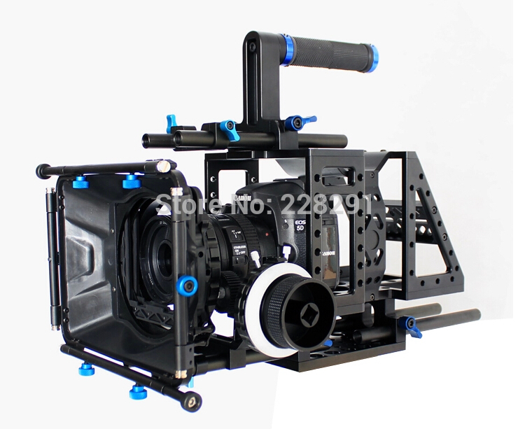 DSLR upper handle Rig camera kits Movie cage video shoulder mount rod stabilizer with matte box AB Hard Stop Damped follow focus new professional dslr rig shoulder mount