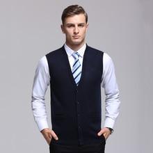 2017 New Arrival Autumn Winter cardigan Knitted Sweater vest Men Sleeveless Standard Wool Grey cyan Coffee Deep red male Vest