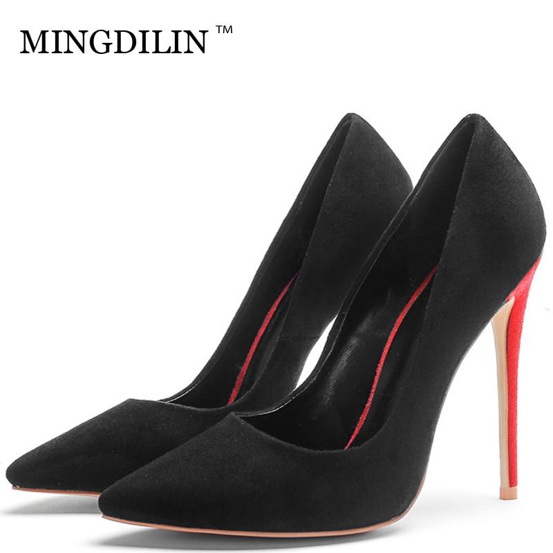 MINGDILIN Sexy Women s High Heels Shoes Black Blue Red Plus Size 33 43  Woman Heel Shoes 6a85b035e4f1