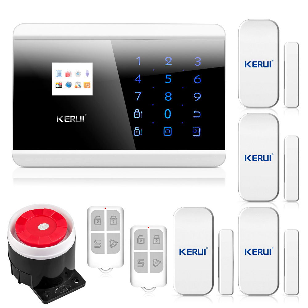 KERUI English/Russian/French/Spanish TFT Android IOS APP Touch keypad GSM Alarm System PSTN Dual Net Alarm Systems Security