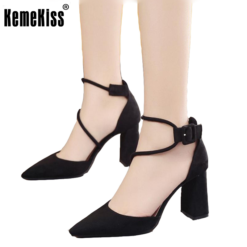 Women High Heel Sandals Fashion Pointed Toe Shoes Women Ankle Strap Concise Shoes Thick Heels Women's Sexy Footwear Size 34-39 women flat sandals fashion ladies pointed toe flats shoes womens high quality ankle strap shoes leisure shoes size 34 43 pa00290