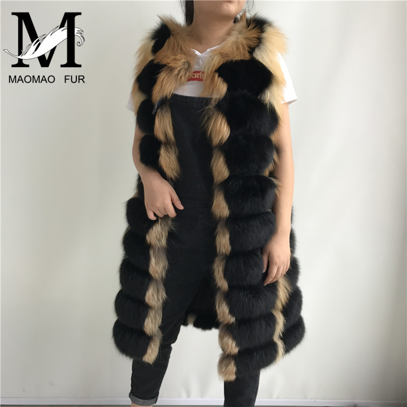 Mode Femelle Réel Fourrure D'hiver En Usine Femmes Gilet Gros De Black Renard Long yv8wmNn0O