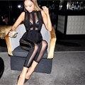 Envío libre! 2016 Mujeres Sexy Negro Mesh Bodycon Mamelucos Del Mono Del Vendaje Del Partido de Clubwear HL invierno Mono de cuerpo entero