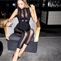 Free shipping!2016 Women Sexy Black Mesh Bodycon Party Bandage Rompers Bodysuit Clubwear HL winter  full length Jumpsuit
