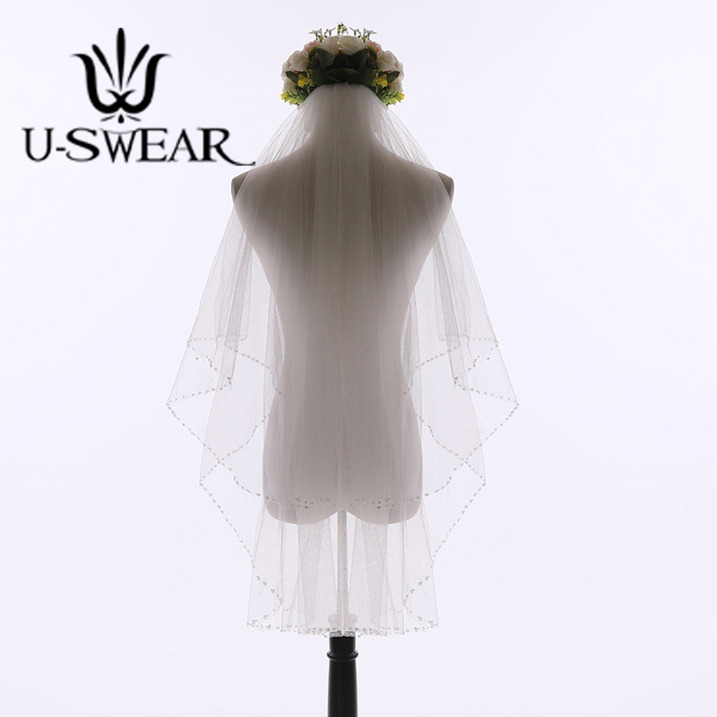 U-SWEAR Hot Sale Double Layers Mesh Bead Edge Women Wedding Veils White Ivory With Comb Bridal Veil For Wedding Dress