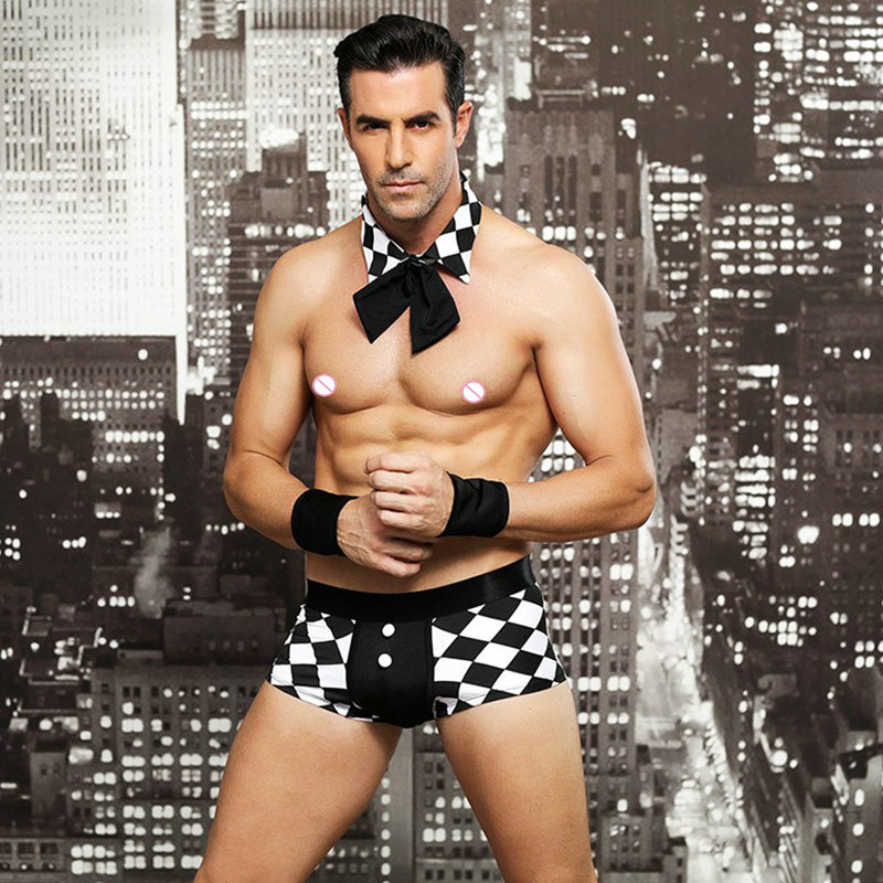 The European Style Men's Sexy Maid Costume Erotic Lingeries With accessorie Charming Underwear Fantasy Apparel For Male
