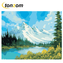 RIHE Snow Mountain Diy Painting By Numbers Lake Oil On Canvas Hand Painted Cuadros Decoracion Acrylic Paint Home Art
