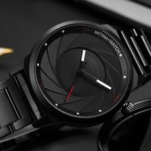 高級クールメンズブラックスチール時計男性ファッショントップブランドスポーツユニークなデザインのクォーツ腕時計は男性時計レロジオmasculino