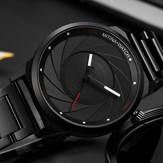 יוקרה מגניב גברים שחור פלדת שעון גברים אופנה למעלה מותג ספורט ייחודי עיצוב קוורץ יד שעונים זכר שעון Relogio Masculino