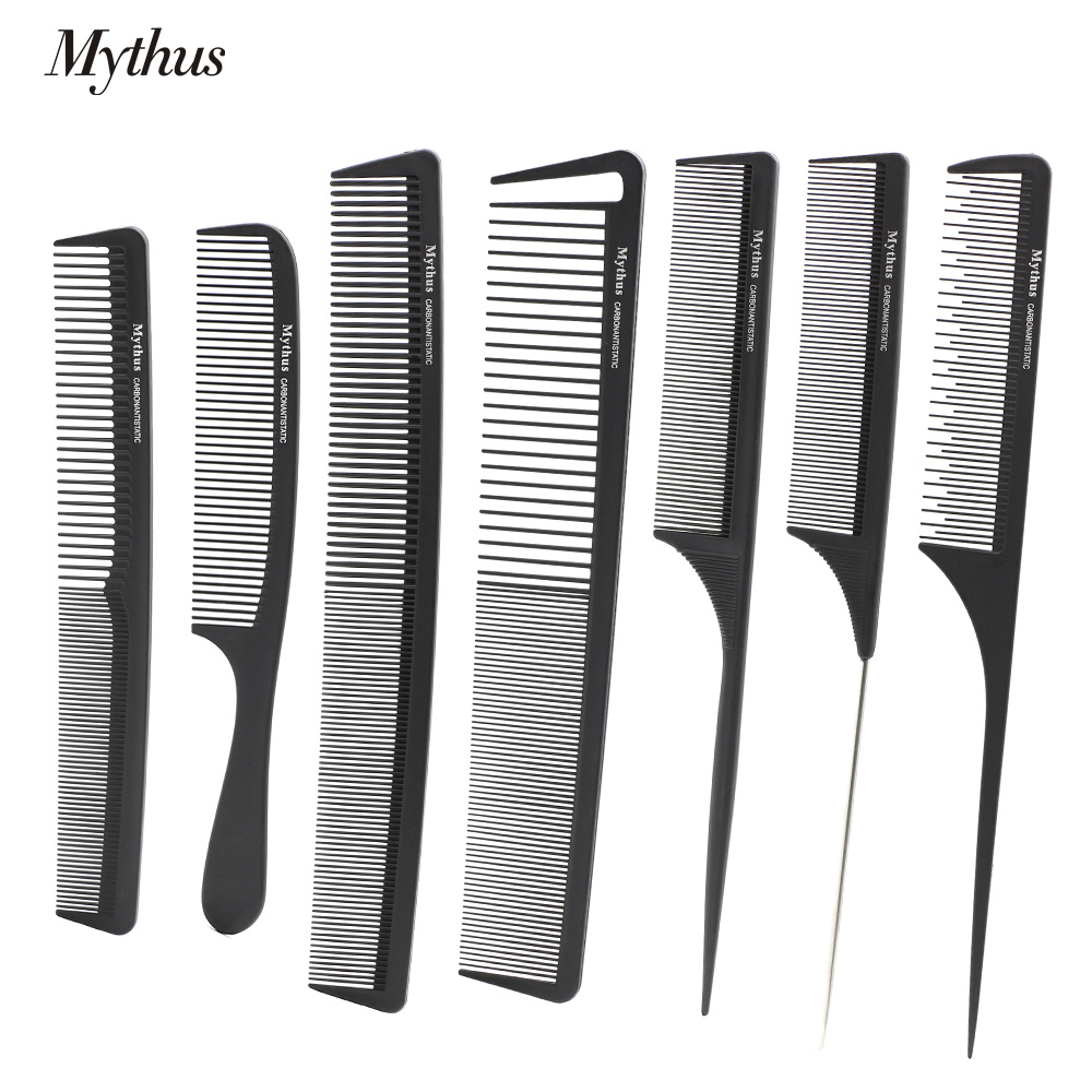 7 styck / Lot Mythus Black Carbon Hairdresser Comb Set Anti Static Barber Haircut Comb Värmebeständig Salong Hår Styling Tail Comb