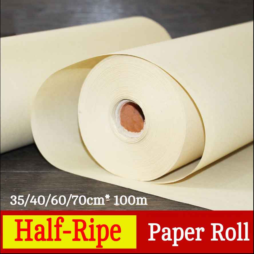 100m Bamboo rice paper half-Ripe Rice Paper Roll Chinese Painting Calligraphy paper Artist Painting supplies цена и фото