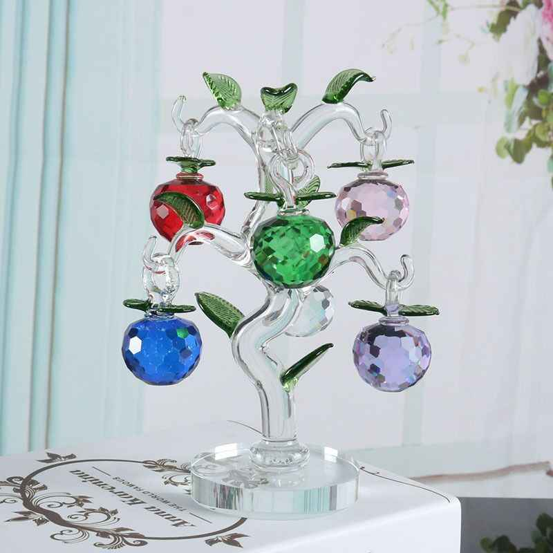 Mini Artificial Crystal Christmas Tree 3 cm Glass Faceted Hanging Apple Ornament New Year Home Decoration Accessory