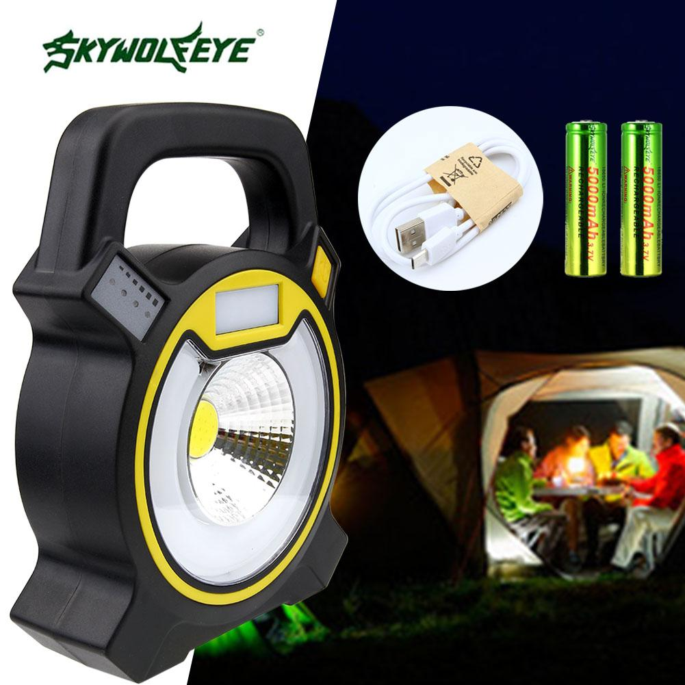 2000Lm 4-Modes 20X SMD LED USB Rechargeable Portable Tent Lamp LanternCamping Lanterns Mobile Power+2*18650 battery+USB Cable