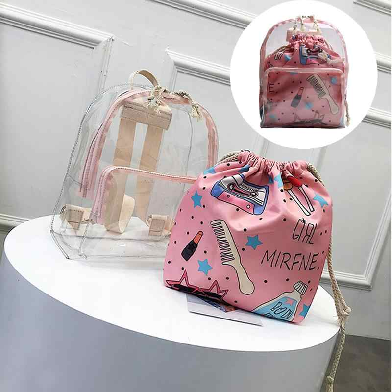 Cute 2 IN 1 Zipper and Drawstring Bag Women Female Backpack Clear Mini Backpack Transparent Small School Bag For Girls Teenagers
